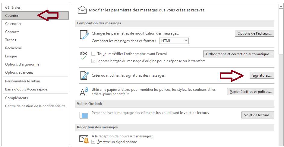 Signature mails options
